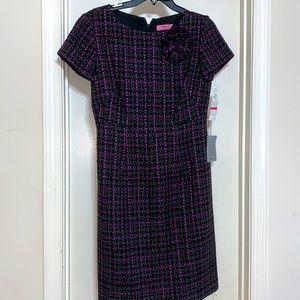 NEW w/ Tags Eliza J plaid dress w/ fabric broach